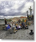 Musicians On The Charles Bridge - Prague Metal Print