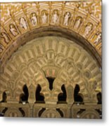 Muslim Arch With Christian Reliefs In Mezquita Metal Print