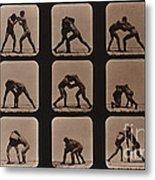 Muybridge Locomotion, Men Wrestling Metal Print