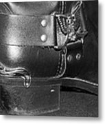 My Biker Cowboy Boot In Black And White Metal Print