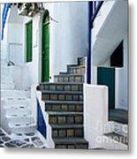 Mykonos Stairs Metal Print