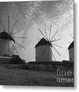 Mykonos Windmills Metal Print by Leslie Leda