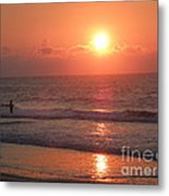 Mysterious Fisherman With The Sunrise Metal Print