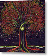 Mystic Spiral Tree Red By Jrr Metal Print