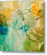 Mystical Garden - Golden Butterflies Metal Print