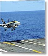 N Fa-18c Hornet Lands Aboard Metal Print