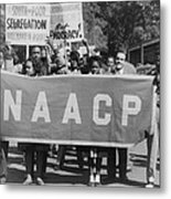 Naacp Banner Is Held By Protesters Metal Print by Everett