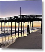 Nags Head Fishing Pier At Sunrise - Outer Banks Scenic Photography Metal Print