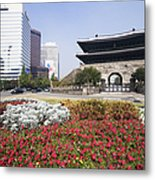 Namdaemun Gate With Flowers In Foreground Metal Print