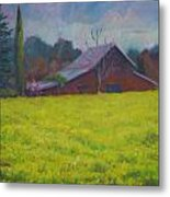 Napa Valley Mustards And Red Barn Metal Print