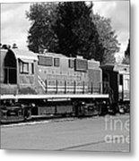 Napa Valley Railroad Wine Train Locomotive In Napa California Wine Country . Black And White . 7d899 Metal Print