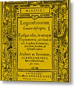 Napiers Treatise On Logarithms Metal Print by Photo Researchers