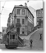 Narrow Streets And Streetcar In Lisbon Metal Print
