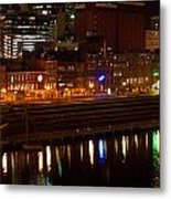 Nashville River Front By Night 1 Metal Print
