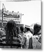 Nathan's Crowd In Coney Island 2 Metal Print