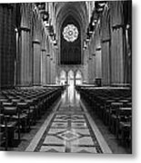 National Cathedral Interior Bw Metal Print