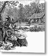 Native American Attack, C1640 Metal Print