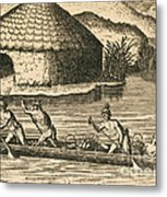Native Americans Transporting Crops Metal Print