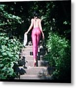 Nature Reclaims The Steps Metal Print by J C