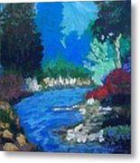 Natures Red White And Blue Metal Print