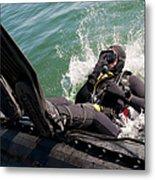 Navy Diver Dives Into San Diego Bay Metal Print