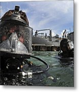 Navy Diver Wearing A Mk-20 Diving Mask Metal Print