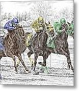 Neck And Neck - Horse Race Print Color Tinted Metal Print