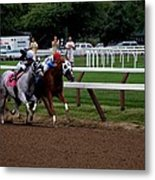 Neck And Neck At Saratoga Two Metal Print