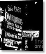 Neon Sign Bourbon Street Corner French Quarter New Orleans Black And White Conte Crayon Digital Art Metal Print