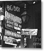Neon Sign On Bourbon Street Corner French Quarter New Orleans Black And White Film Grain Digital Art Metal Print