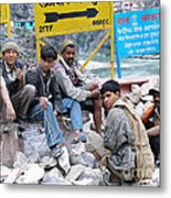 Nepali Labourers At Devraprayag Metal Print
