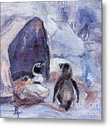 Nesting Penguins Metal Print