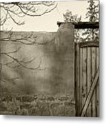New Mexico Series - Doorway II Black And White Metal Print