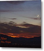 New Moon Over Grants Pass With Text Metal Print