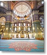 New Mosque Interior In Istanbul Metal Print