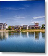 New Town On The Lake Metal Print by Bill Tiepelman