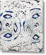 New Year Rolls Around With Abstracted Splatters In Blue Silver White Representing Snow Excitement Metal Print