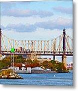 New York Bridge Water View Metal Print