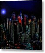 New York By Moonlight Metal Print