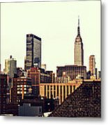 New York City Rooftops And The Empire State Building Metal Print