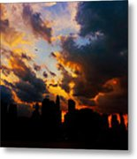 New York City Skyline At Sunset Under Clouds Metal Print