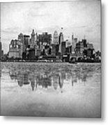 New York Skyline Reflected Metal Print