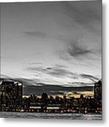 New Yorks Skyline At Night Colorkey Metal Print