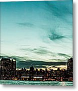 New Yorks Skyline At Night Ice 1 Metal Print
