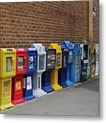 Newspaper Boxes Metal Print