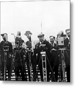Newsreel Cameramen With Cameras Metal Print