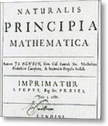 Newtons Principia, Title Page Metal Print