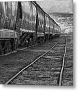 Next Tracks In Black And White Metal Print