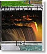 Niagara Falls Usa Triptych Series With Text Metal Print