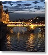 Night Fall Over The Seine Metal Print